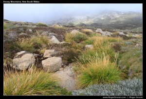 Snowy Mountains from above Thredbo with Mist
