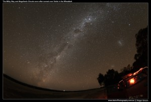 The Emu and Milky Way with Large Magellanic Cloud and Silhouettes