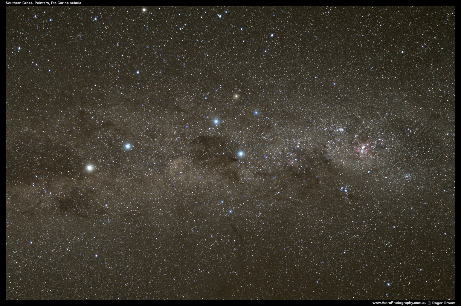 The Pointers, Southern Cross and Eta Carina Nebula