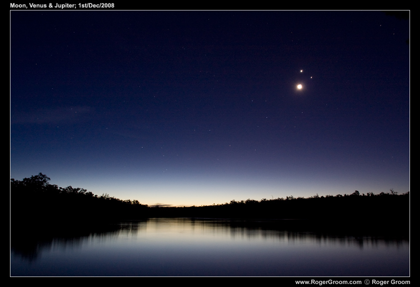 Lake Leschenaultia twilight with Smiley Face Conjunction