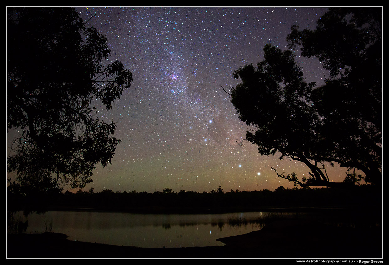 Southern Cross and pointers over Lake Leschenaultia