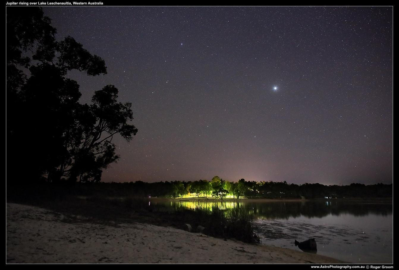 Jupiter rising above the camp and lake at Lake Leschenaultia in Chidlow, Western Australia. February 2016.