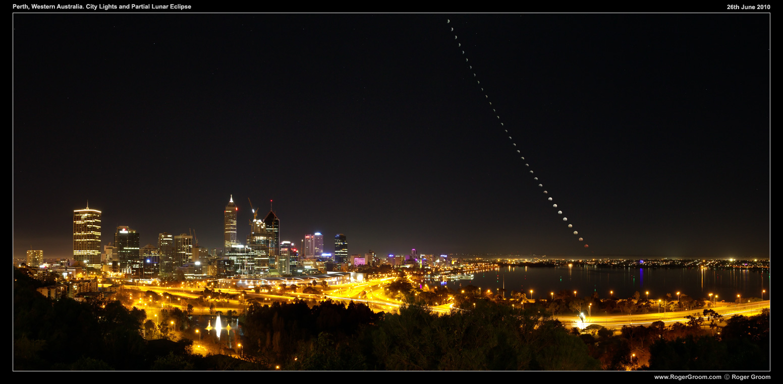 Lunar Eclipse with Perth CBD from Kings Park