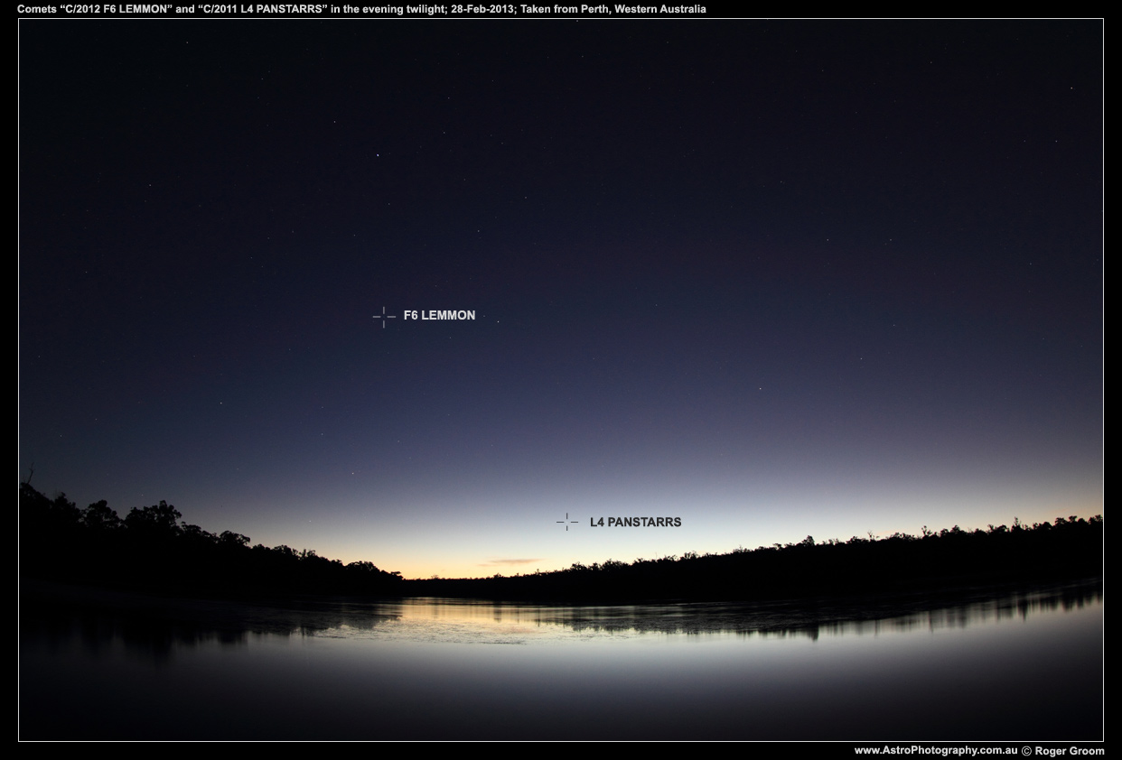 A photograph showing the Evening twilight with comet C/2012 F6 LEMMON and C/2011 L4 PANSTARRS