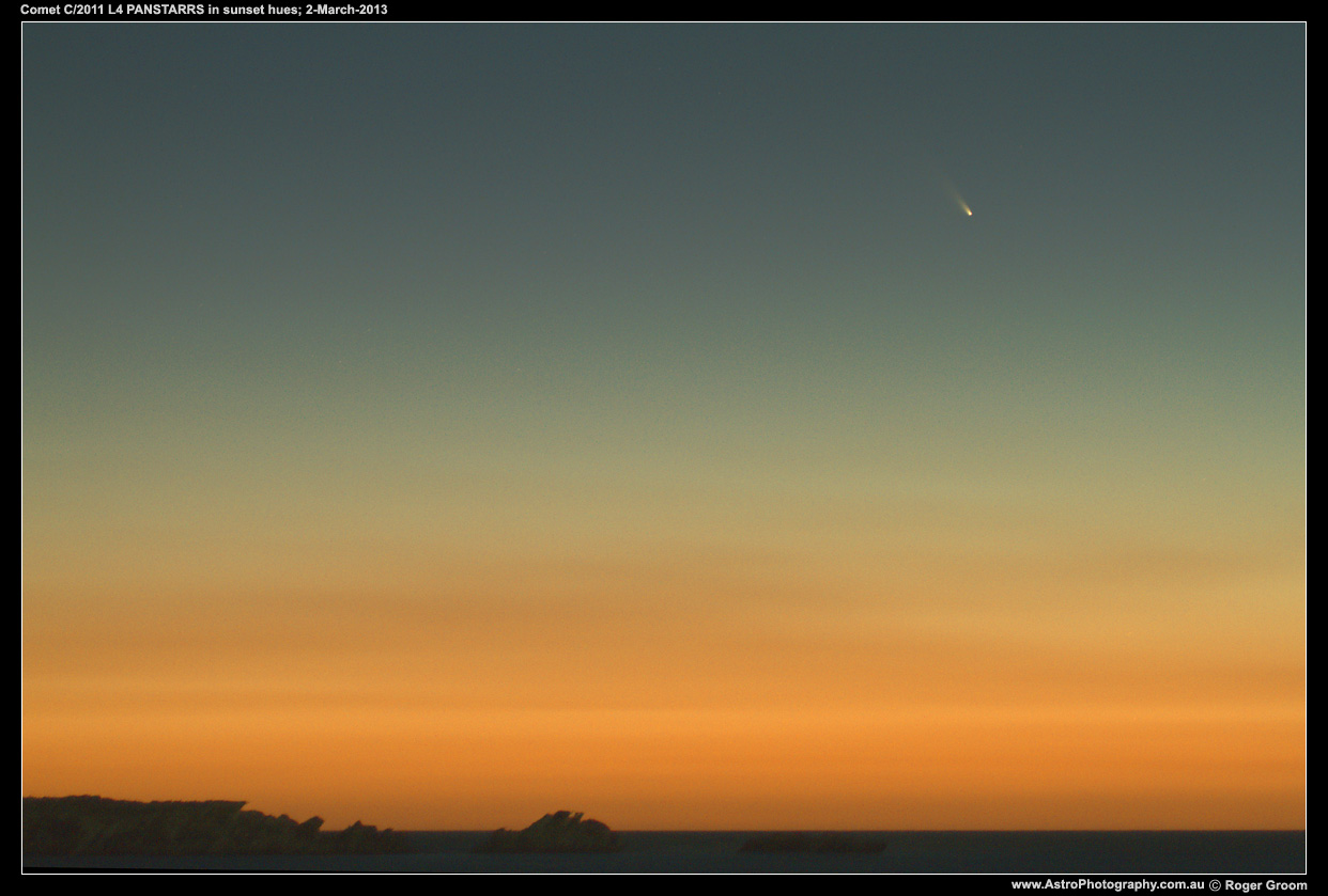 Photograph of Comet C/2011 L4 PANSTARRS in sunset hues