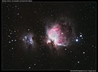 A photograph of the Nebulas Of Orion - Running Man and Great Orion Nebula M42