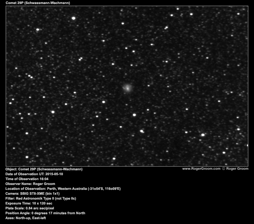 Object: Comet 29P (Schwassmann-Wachmann) Date of Observation UT: 2015-05-10 Time of Observation 16:04 Observer Name: Roger Groom Location of Observation: Perth, Western Australia (-31o54'S, 116o09'E) Camera: SBIG ST8-XME (bin 1x1) Filter: Red Astronomik Type II (not Type IIc) Exposure Time: 10 x 120 sec Plate Scale: 0.84 arc sec/pixel Position Angle: 0 degrees 17 minutes from North Axes: North-up, East-left