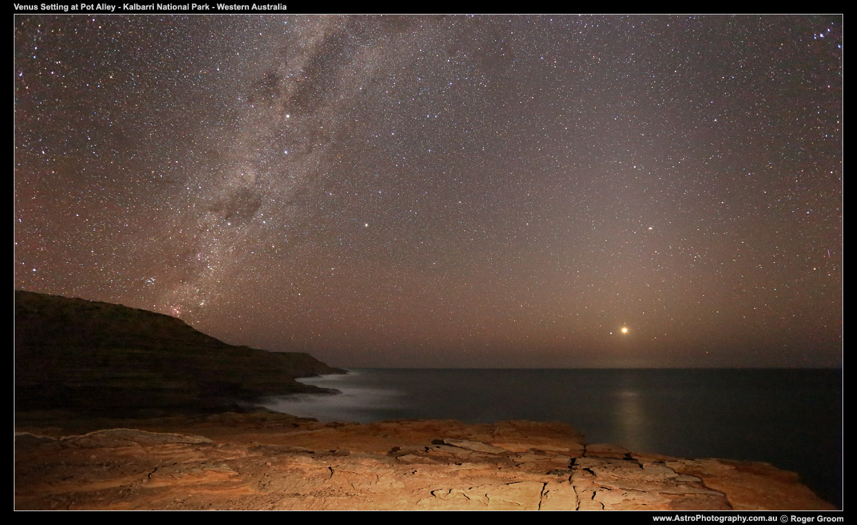 Venus Setting over the rugged cliffs and gorges of Kalbarri National Park