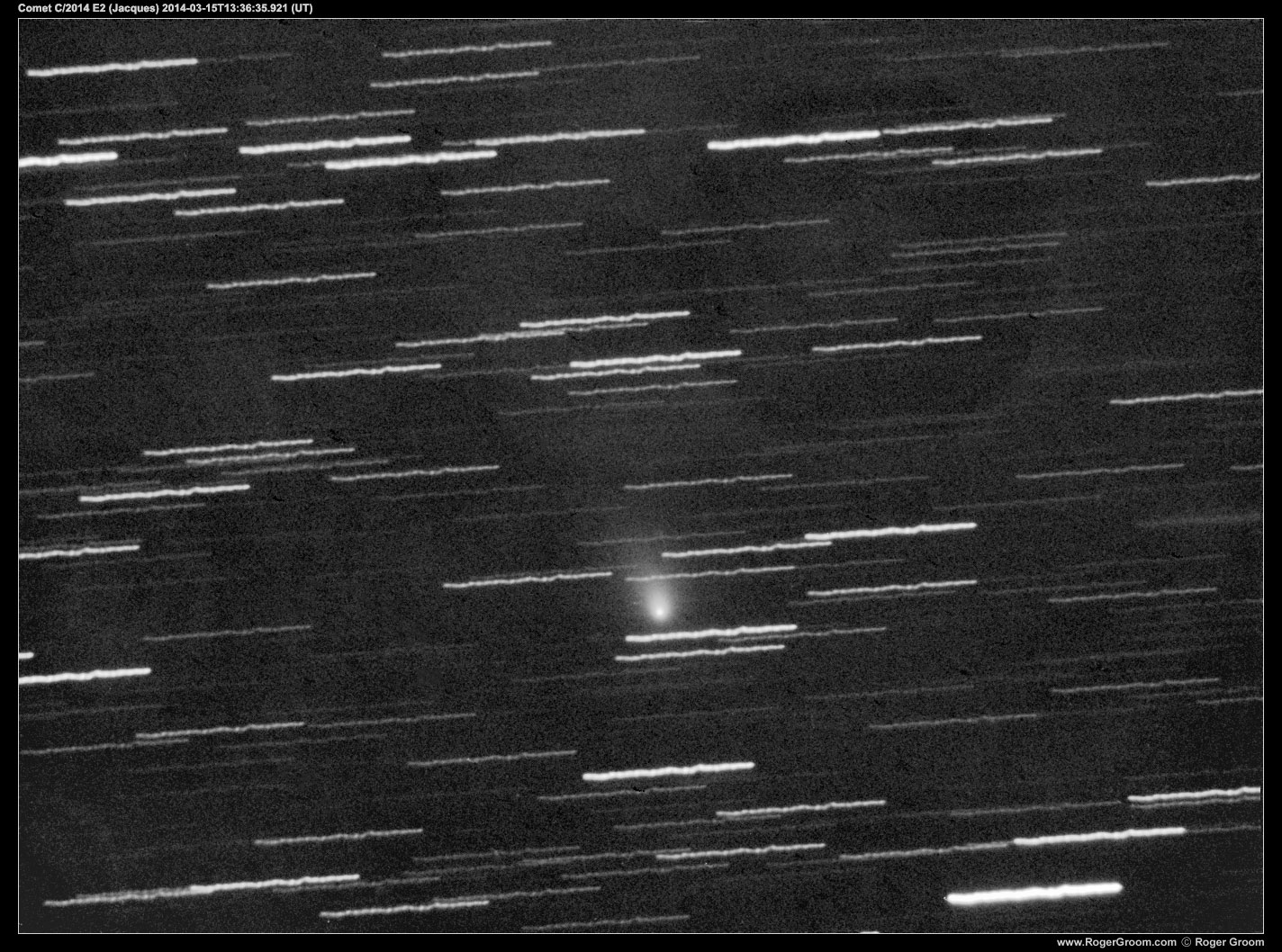 Comet C/2014 E2 (Jacques) 10x300s exposures. Average. Heavy processing to reduce the effects of a nearby almost full moon.