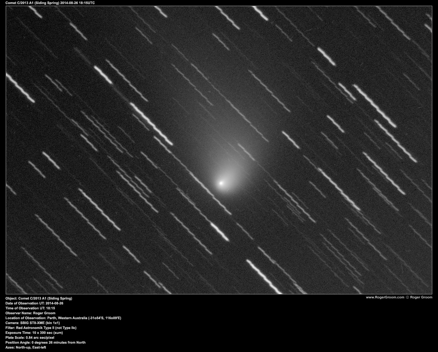Object: Comet C/2013 A1 (Siding Spring) Date of Observation UT: 2014-08-26 Time of Observation UT: 18:15 Observer Name: Roger Groom Location of Observation: Perth, Western Australia (-31o54'S, 116o09'E) Camera: SBIG ST8-XME (bin 1x1) Filter: Red Astronomik Type II (not Type IIc) Exposure Time: 10 x 300 sec (sum) Plate Scale: 0.84 arc sec/pixel Position Angle: 0 degrees 26 minutes from North Axes: North-up, East-left