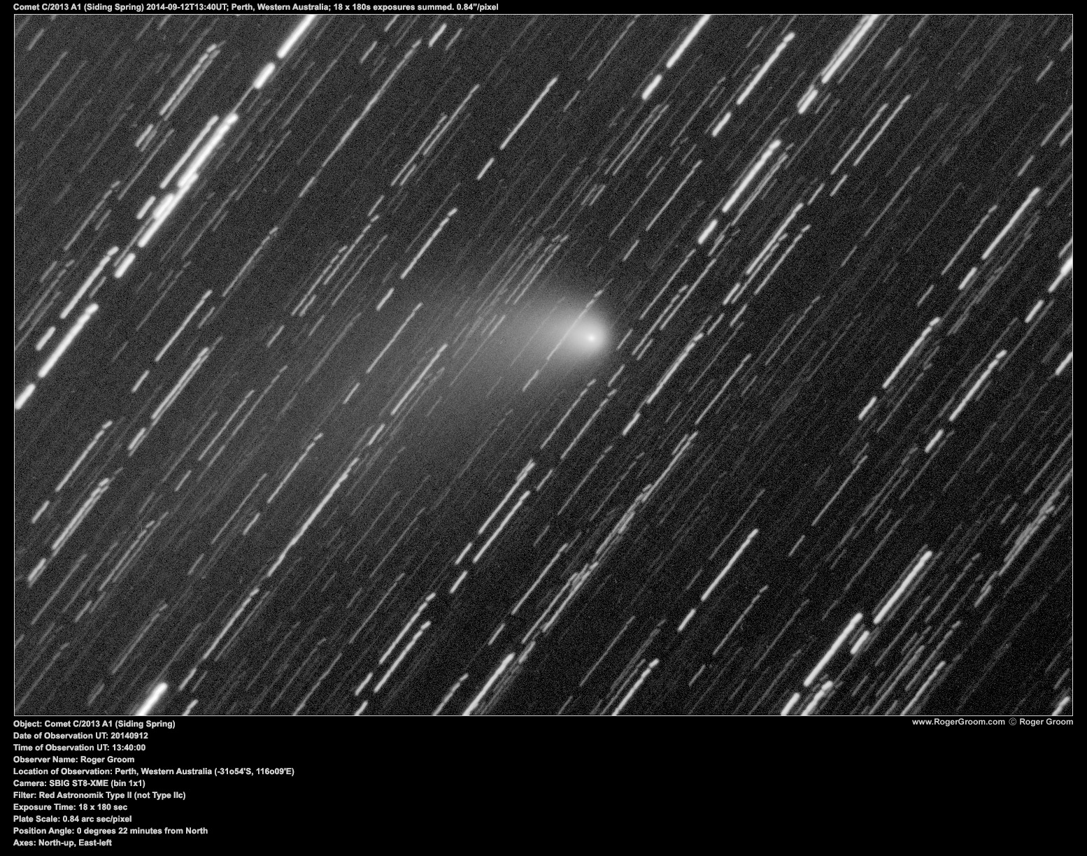Object: Comet C/2013 A1 (Siding Spring) Date of Observation UT: 20140912 Time of Observation UT: 13:40:00 Observer Name: Roger Groom Location of Observation: Perth, Western Australia (-31o54'S, 116o09'E) Camera: SBIG ST8-XME (bin 1x1) Filter: Red Astronomik Type II (not Type IIc) Exposure Time: 18 x 180 sec Plate Scale: 0.84 arc sec/pixel Position Angle: 0 degrees 22 minutes from North Axes: North-up, East-left