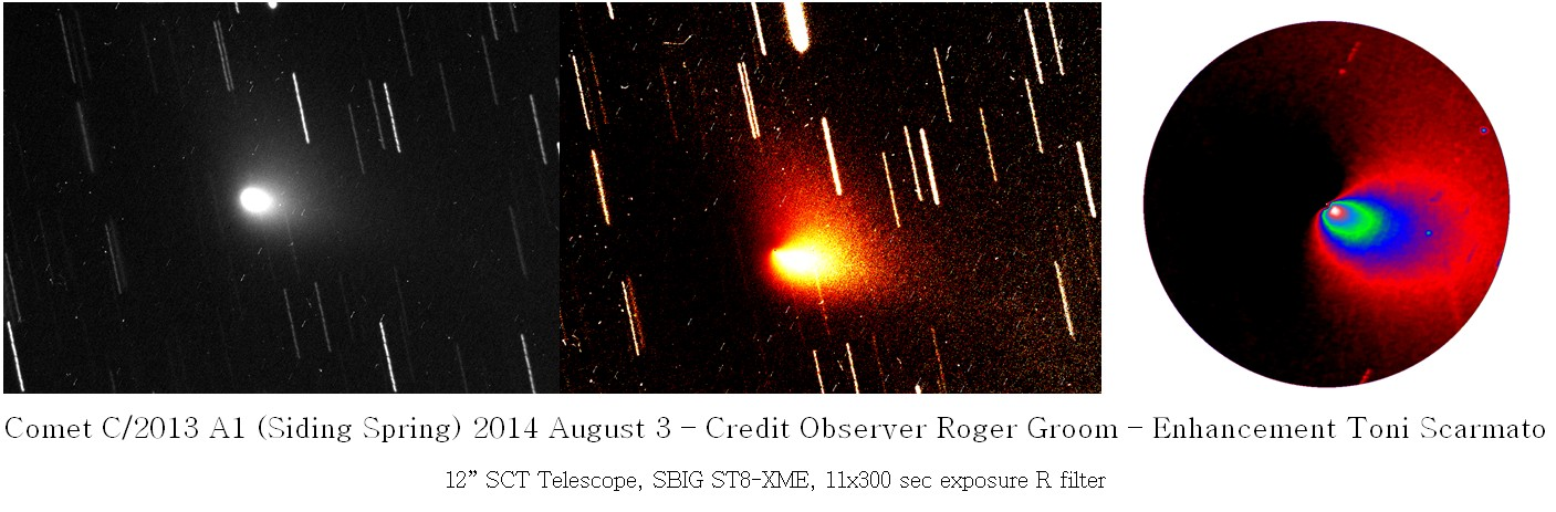 """Comet C/2013 A1 (Siding Spring); 2014-08-03 20:02:12ZUTC; 12"""" SCT @ ~2200mm, 0.84""""/pixel, ST8-XME @-25bin 1x1, 10x300 second exposures summed. Processing by Toni Scarmato, photography by Roger Groom."""