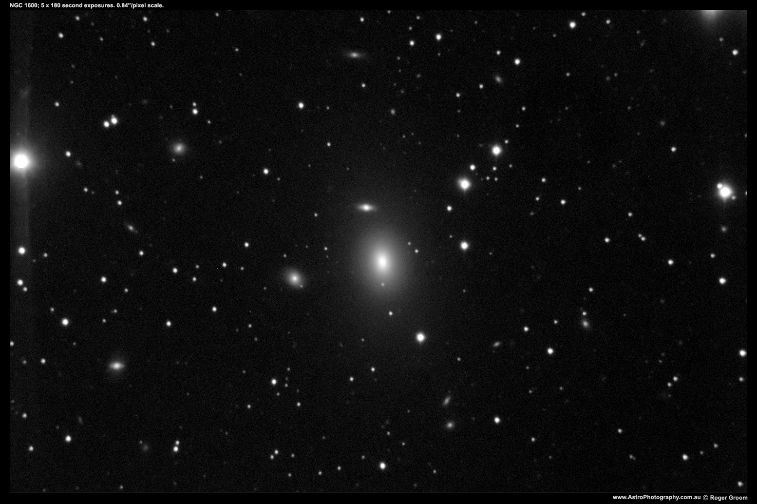 "NGC 1600 and other galaxies. 5 x 180 second exposures. 0.84""/pixel scale."