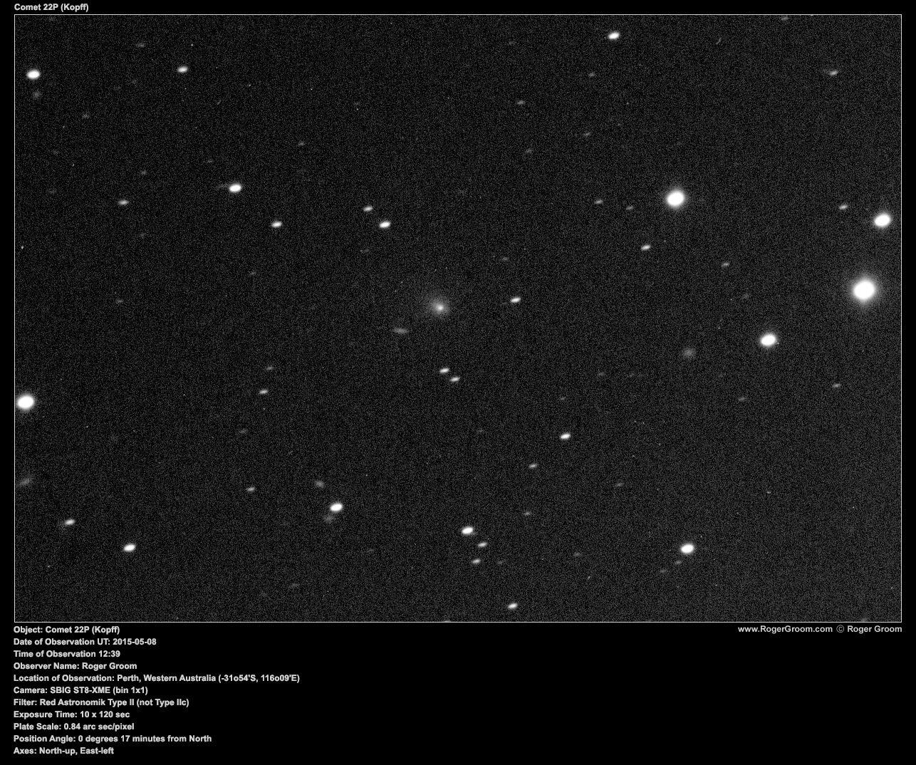 Object: Comet 22P (Kopff) Date of Observation UT: 2015-05-08 Time of Observation 12:39 Observer Name: Roger Groom Location of Observation: Perth, Western Australia (-31o54'S, 116o09'E) Camera: SBIG ST8-XME (bin 1x1) Filter: Red Astronomik Type II (not Type IIc) Exposure Time: 10 x 120 sec Plate Scale: 0.84 arc sec/pixel Position Angle: 0 degrees 17 minutes from North Axes: North-up, East-left