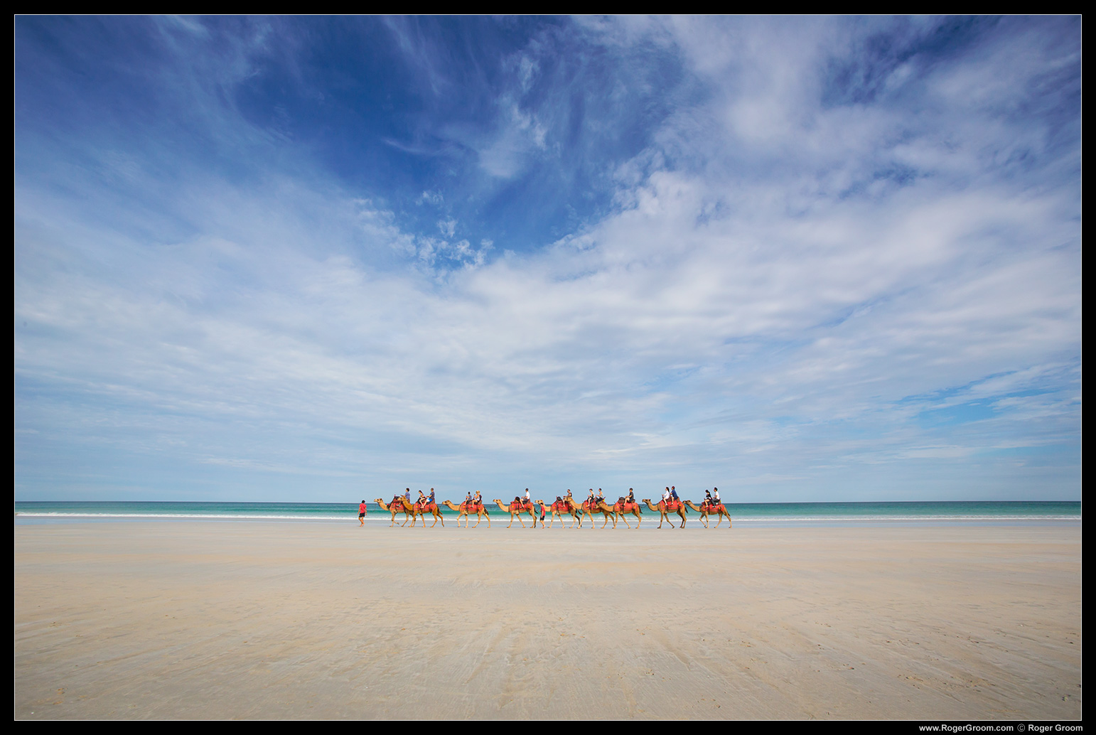 Camels on Cable Beach with the spectacular sky and sand.