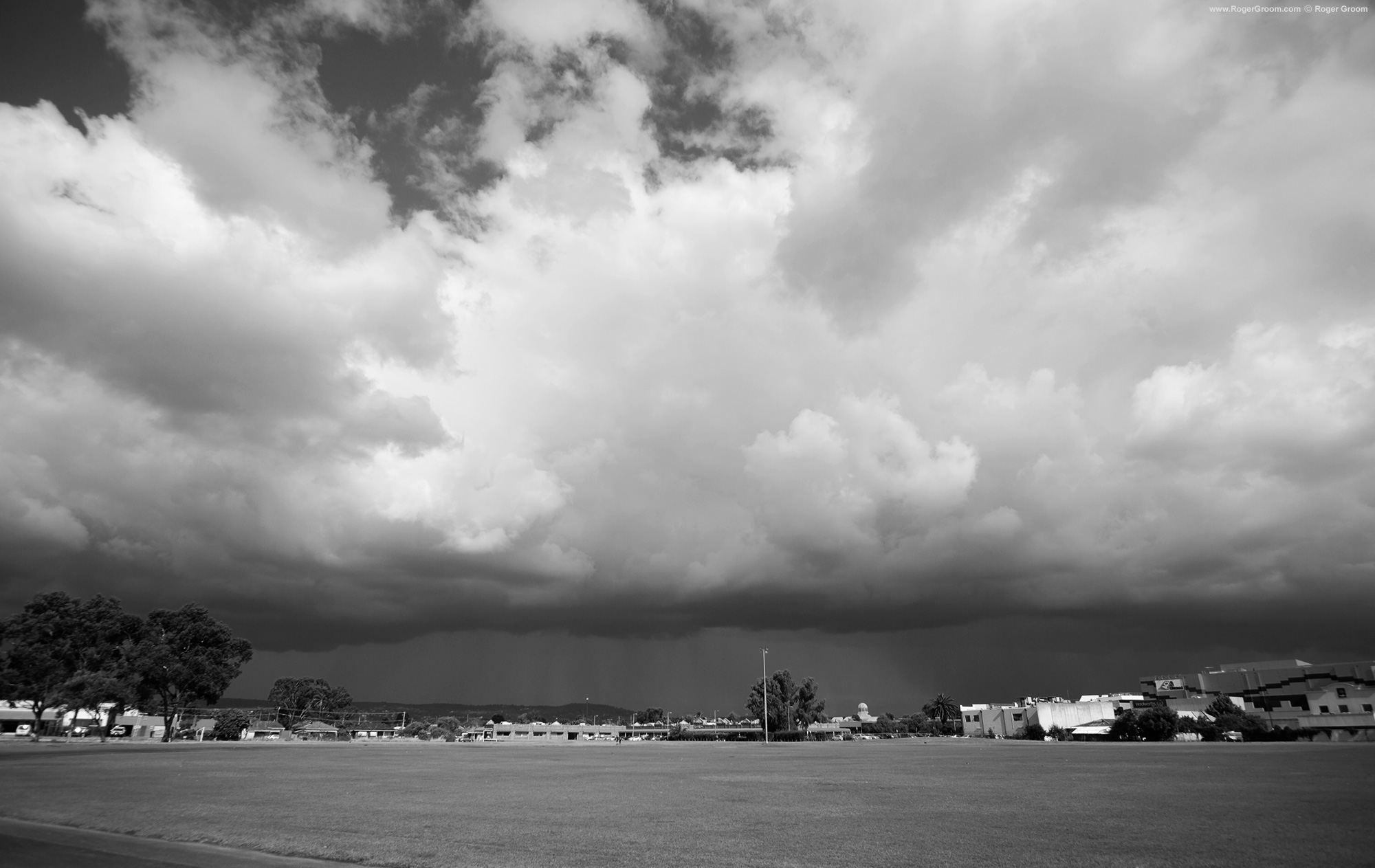 Storm clouds over Midland Oval, Western Australia.
