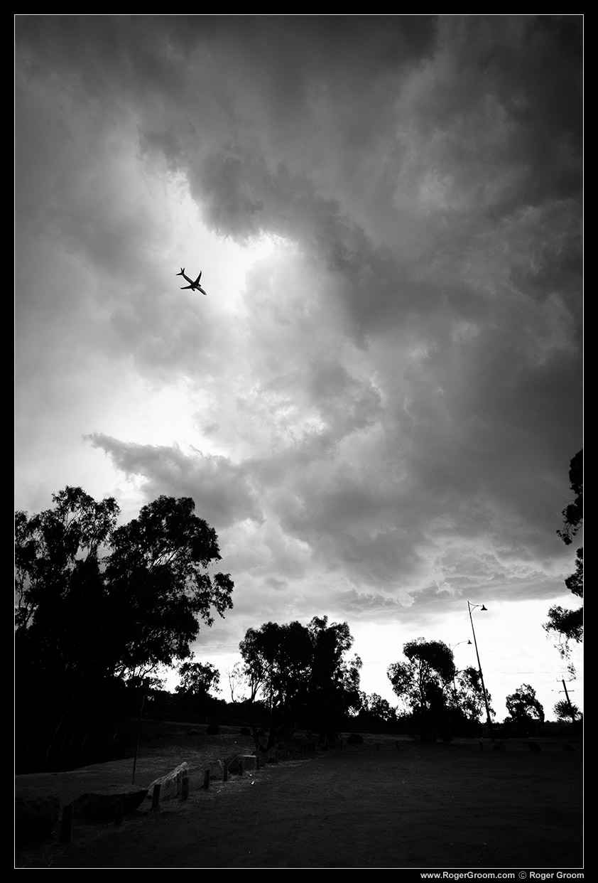 "19th January 2016 Perth storm clouds with an aeroplane. Let's call it ""Into the Abyss""."