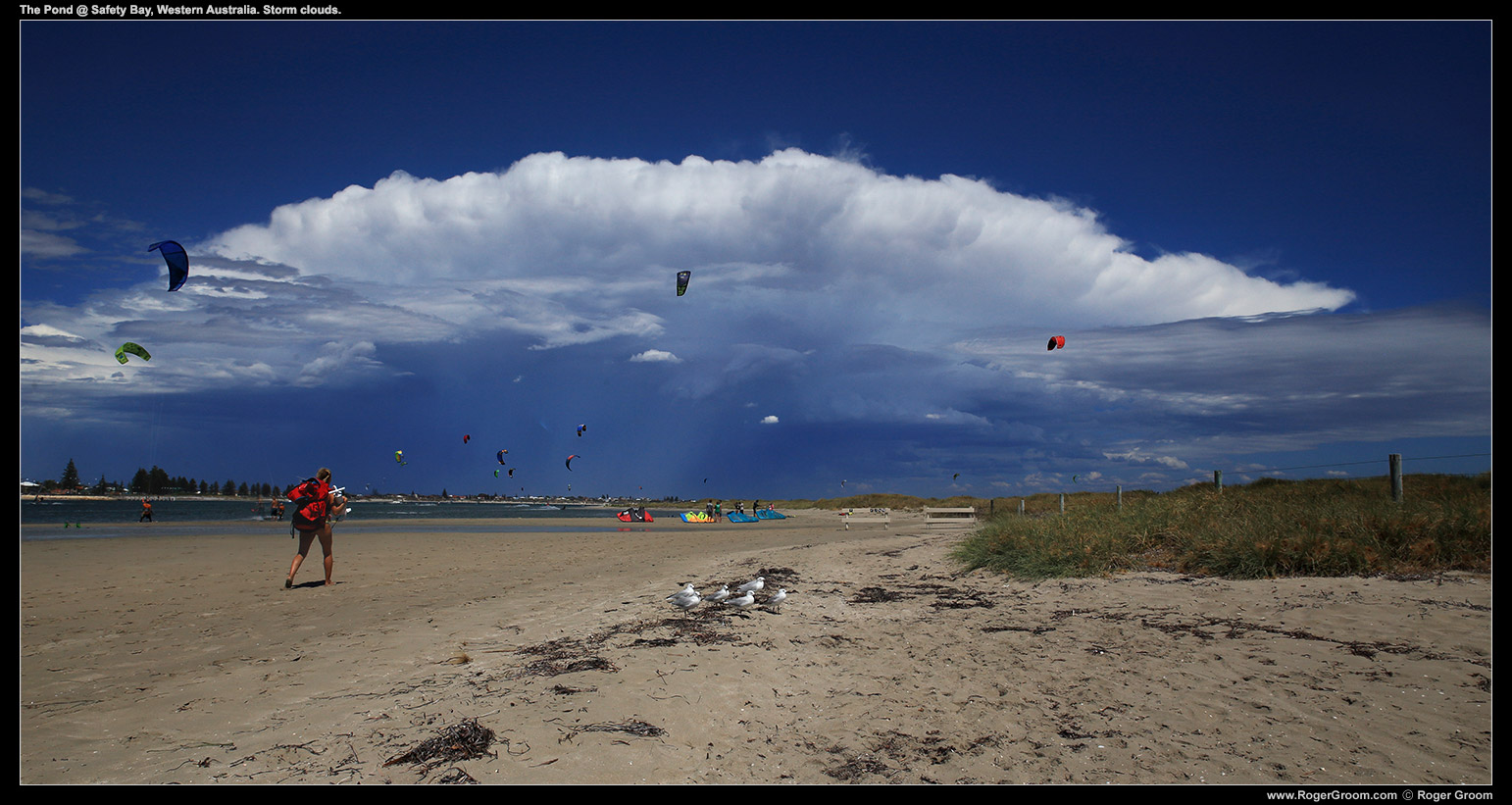 Storm clouds in the distance at The Pond @ Safety Bay, Western Australia. Kite Surfers abound!