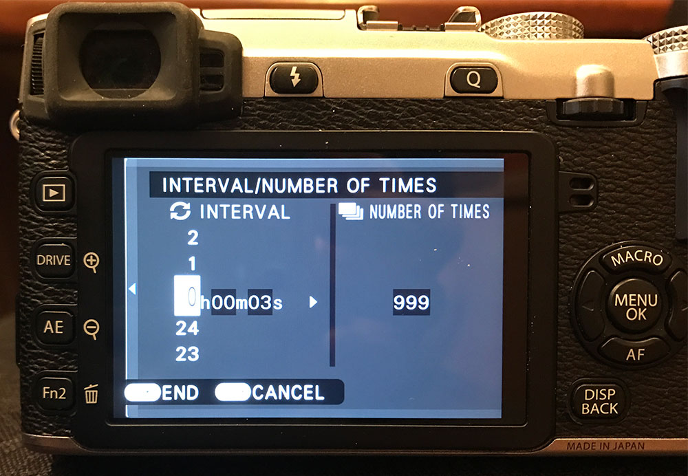Fuji X-E2 interval shooting menu