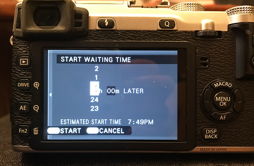 Fuji X-E2 interval shooting menu (screen 2 of 2)